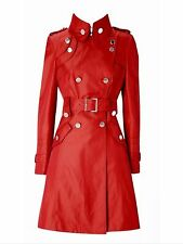 KAREN MILLEN RED TWO-TONE TRENCH COAT MILITARY STYLE MAC SIZE 10/12