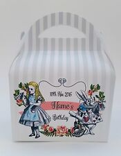 Alice in Wonderland Personalised Party Boxes Gift Bag Favour 1ST CLASS POST