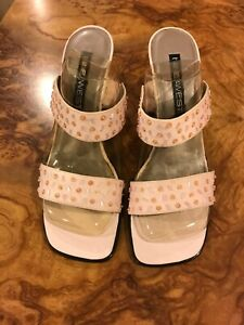 Nine West Pink Fabric Glitter Chunky Heel Sandal. Size 10 New In Box.