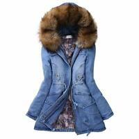Womens Long Thick Fur Collar Hooded Jacket Slim Parka Winter Warm Jeans Coat