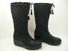 Tory Burch GiGi Black Quilted Tassel Wedge Boots Sz 7.5M - Tear in Lining