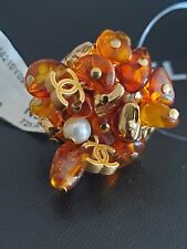 AUTHENTIC NWT 11C CHANEL CC LOGO AMBER AND PEARL RING GOLD TONE HARDWARE SZ 6.5