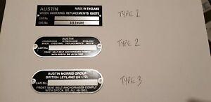 CHASSIS PLATE AUSTIN aluminium mini moke cooper clubman Crcp312 crcp379 crcp339