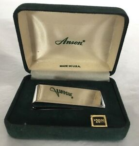 NOS Anson Sterling Silver Men Money Clip No Monogram Pocket Blank Engravable USA