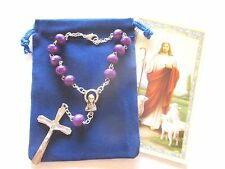 Wholesale Lot of 24 Beautiful Purple One Decade Rosaries, Auto Rosaries