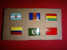 6 Country Flag Lapel Pins: ARGENTINA, BARBADOS, BOLIVIA, COLOMBIA, CONGO, EGYPT