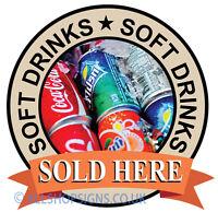 SOFT DRINKS SIGN Catering shop Sign Window sticker Cafe Restaurant decal v2