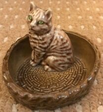 WADE CAT IN A BASKET Pin Dish from CAT &  PUPPY DISHES 1974-1981 - FREEPOST