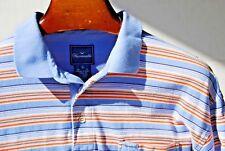 Façonnable XL Sky Blue, Orange & Brown Striped Short-Sleeve Polo Shirt - $134.00