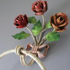 Vintage Shabby Italian Tole Towel Holder 3 Roses + Pink Bow * Original Paint