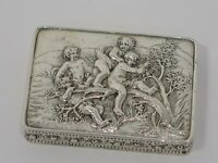 3 1/8 in - European Silver Antique German Cherubs on Tree Snuff Box
