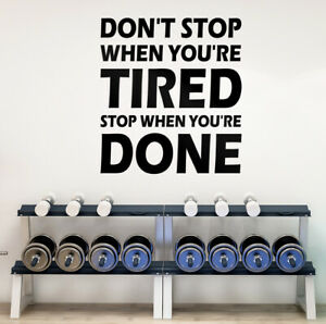 Motivational Wall Art Sticker Decal Gym Life Goals Don't Stop When You're Tired