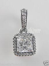 TIMELESS ELEGANCE Genuine PANDORA Silver/Clear CZ STONE Square PENDANT/Charm NEW