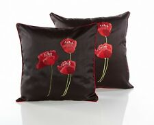 Poppies Black & Red Piped Faux Silk 18 Inch Cushion Cover