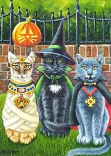 ACEO Limited Edition Print Halloween Cats Mummy Witch Vampire by J. Weiner
