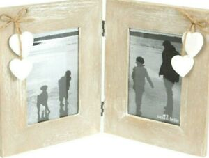 RUSTIC WOODEN DOUBLE PHOTO FRAME 6X4 WHITE HEARTS - SASS & BELLE