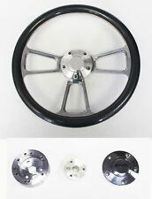 "Bronco F100 F150 F250 F350 Steering Wheel 14"" Carbon Fiber & Billet Plain Center"