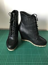 Dolcis Size 6 Black Leather Lace Up Wedge Boots Steam Punk Gothic