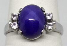 Star Sapphire - Blue (Faux) 4 Diamonds Ladies 18K Ring (J825)