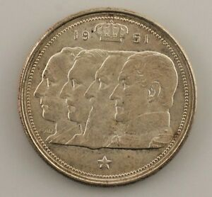 1951 Belgium 100 Francs Coin in Uncirculated Condition