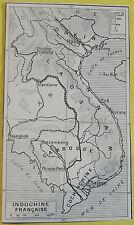 Old Print 1921 Original Larousse French Indochina Geography Hue Saigon