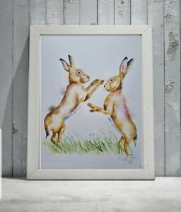 Large new Elle Smith original signed watercolour art painting of Boxing Hares