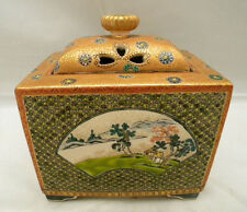 Rare Japanese Meiji Satsuma Incense Burner by Kinkozan