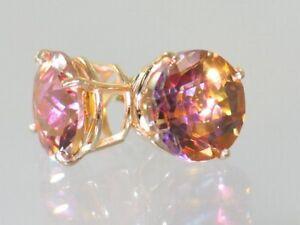Twilight Fire Topaz, 14k Gold Post Earrings, E212