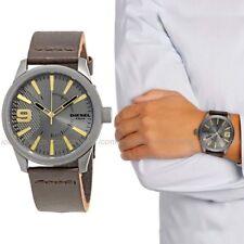 NWT🌎 Diesel DZ1843 Rasp Grey Dial Brown Leather Bands Men's 46mm Gunmetal Watch