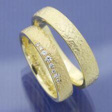 Gelbgold Trauringe Eheringe Hochzeitsringe mit feinem Hammerschlag P2274291