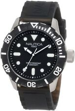BRAND NEW NAUTICA N09600G JELLY BLACK RESIN STRAP SILVER STEEL CASE MEN'S WATCH
