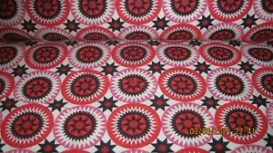 KING SIZE RED STAR CIRCLES CHEATER QUILT TOP PANEL 90X108