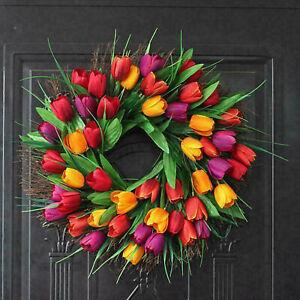 30CM-Artificial Flower Tulip Wreath Door Garland Home Garden Wall Art-Decor