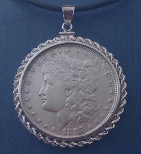 U S Morgan Silver Dollar 1887 P  w/ 925  Rope Motif Silver Bezel As Pendant