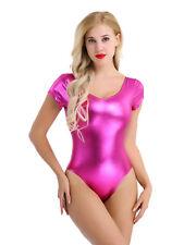 Women Shiny Metallic Leather Bodysuit Leotard Bodycon Dance Romper Clubwear Yoga