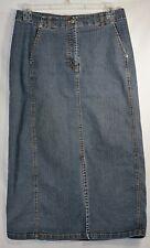 CHICOS Long Denim Skirt Sz 2 Modest Front Slit Blue Jean