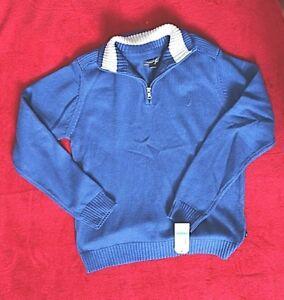 Nautica Med Blue 1/4 Zip Long Sleeve Sweater Boys sz S or XL Retail $44.50