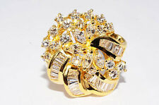 $13,580 3.19Ct Natural Diamond Cluster 18K Yellow Gold Ring Size 2.75