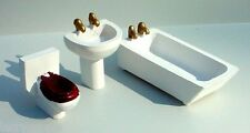 Tub Sink & Toilet Miniature 3 Pc Set Sty B 1/24 Scale G Diorama Accessory Items