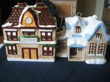 """CHRISTMAS Village Lighted HOUSES ~ """"Country Cottage & STATION House"""" ~"""