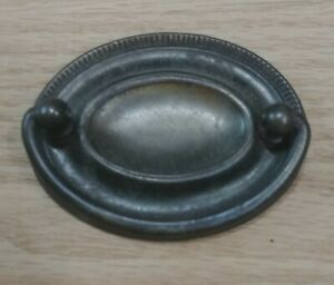 """Antique Oval Drawer Pull Hepplewhite Federal 2"""" Bore Rare Steel Brass Bail Gold"""