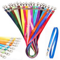 2PC Nylon Solid Lanyard Neck Strap Keychain For Badge ID Card Work Permit Holder