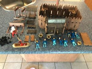 Vintage 1970's Playmobil Fort with Soldiers & Indians - Not Complete