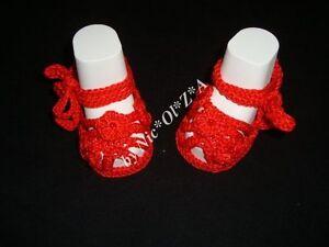 NEWBORN BABY GIRL SUMMER SHOES BOOTIES SANDALS HANDMADE CROCHET RED GIFT iDEA