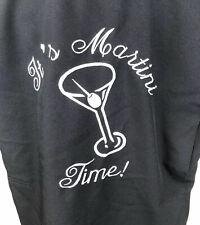 Men's Steady Last Call Bowling Retro Black Martini Time Camp Shirt Size Large