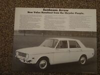 SUNBEAM ARROW - An Original USA Sales Brochure from Chrysler approx.1969.