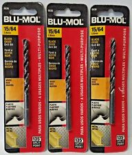 """Blu-Mol 15/64"""" Black Oxide High Speed Drill Bit 6636 3PKS"""