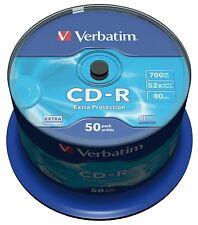 50 x Verbatim 43351 CD-R 80Min 700MB 52x Data CD CDR Pod of 50
