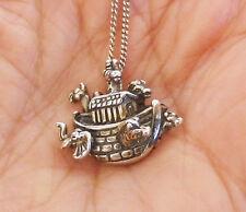 "925 Sterling Silver NOAH'S ARK Pendant Necklace Vintage 18"" S.S. Chain Necklace"
