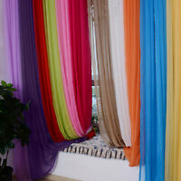 Solid Valances Tulle Voile Treatment Door Window Curtain Drape Panel Sheer Scarf